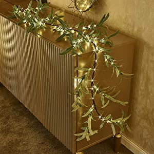 bvanarn Decorative Garland Lights  Lighted Garland with Timer 96 Warm White Decorations Indoor  Twig Garland with Lights Battery Operated for Wedding Party Wall Bedroom Decor (Olive Garland)