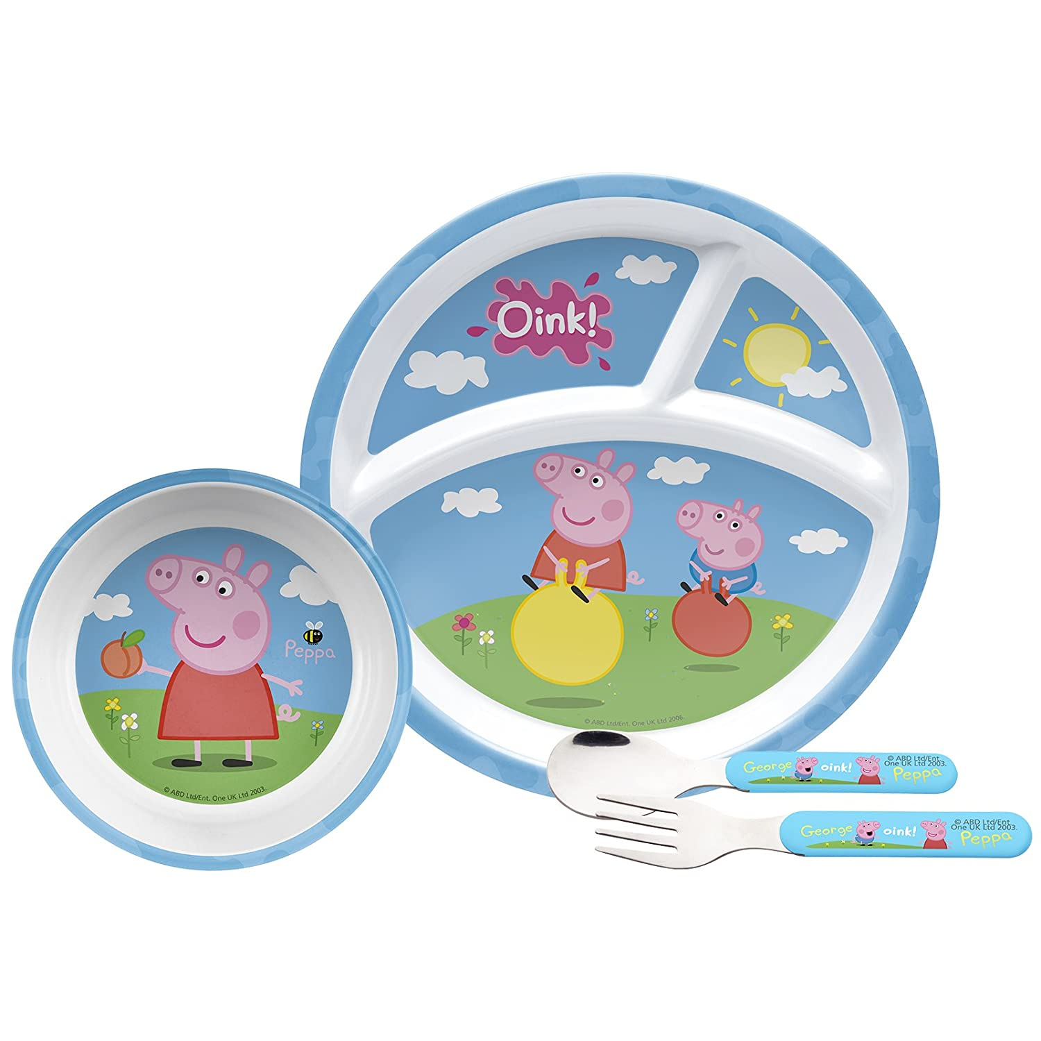 Amazon.com | Peppa Pig Mealtime Set with Plate, Bowl, Fork & Spoon ...