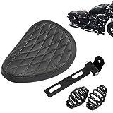 "Amazicha Black Leather Solo Seat 3"" Spiral Springs Mount Bracket Kit Compatible for Harley Honda Yamaha Kawasaki Suzuki Sport"