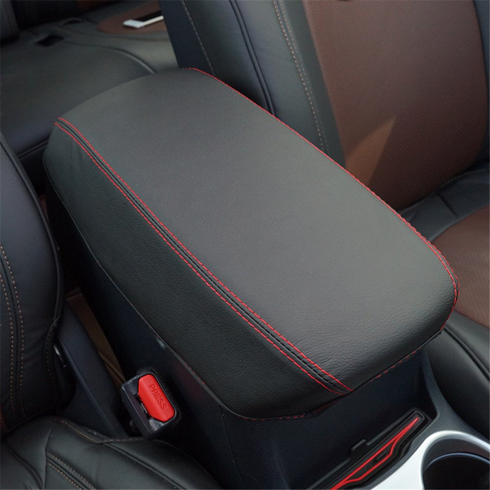 1 Piece Black Cover with Handmade Red Stitches Armrest Cover Fit for 2015 2016 Jeep Cherokee Central Console Armrest Box Kust fsx40022w Car Armrest Cover Saver