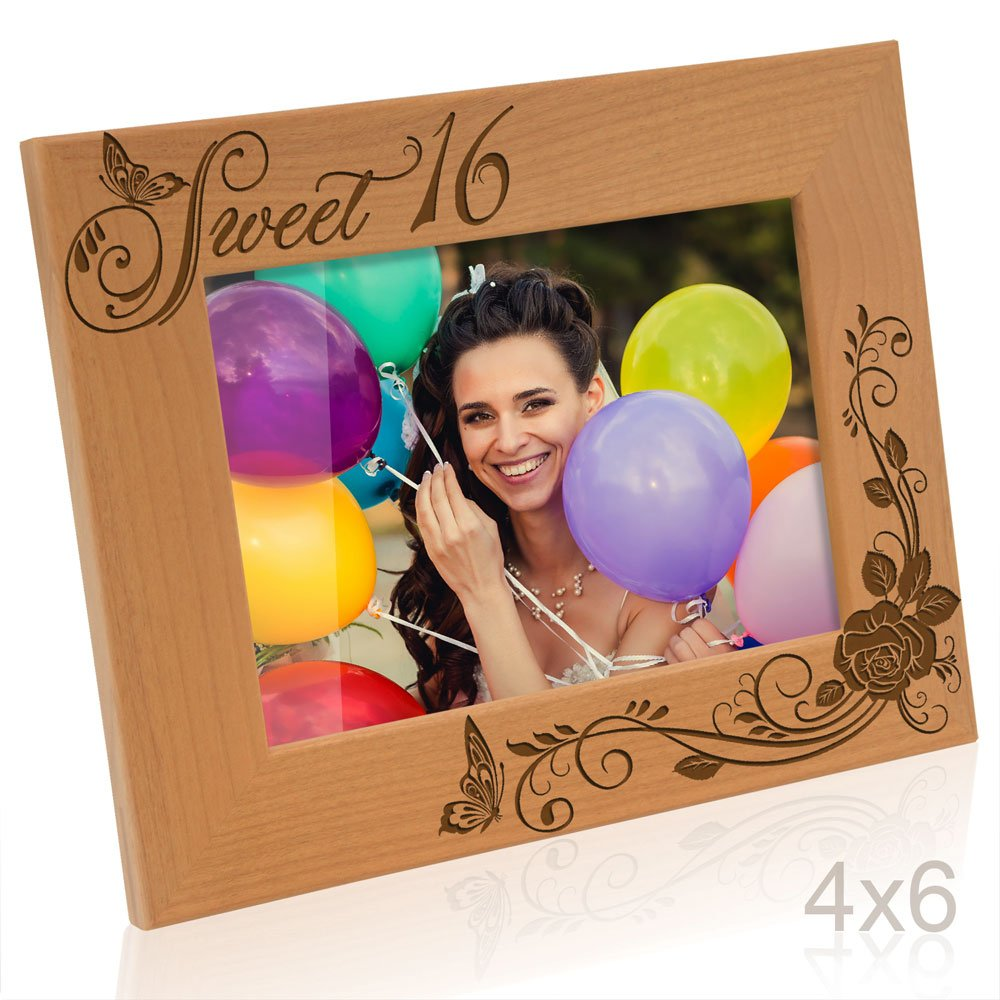 Kate Posh - Sweet 16 Picture Frame - Engraved Natural Wood Photo Frame - Sweet 16 Gifts, Sweet Sixteen Birthday Gifts (4x6-Horizontal)