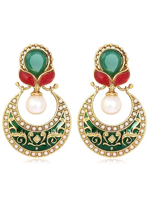 Adwitiya Collection Minakari With Light Green Stone Earrings for Women