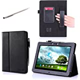 i-BLASON Asus Memo Pad Smart 10'' ME301T Leather Case Cover (Elastic Hand Strap, Multi-Angle, Card Holder ) With Bonus Stylus (Multi-Color to Choose From) 3 Year Warranty (Black