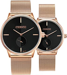 50a4ef1ec9 Swiss Brand Couple Watch Men Women Stainless Steel Rose Gold Mesh Strap  Waterproof Watches Gift of
