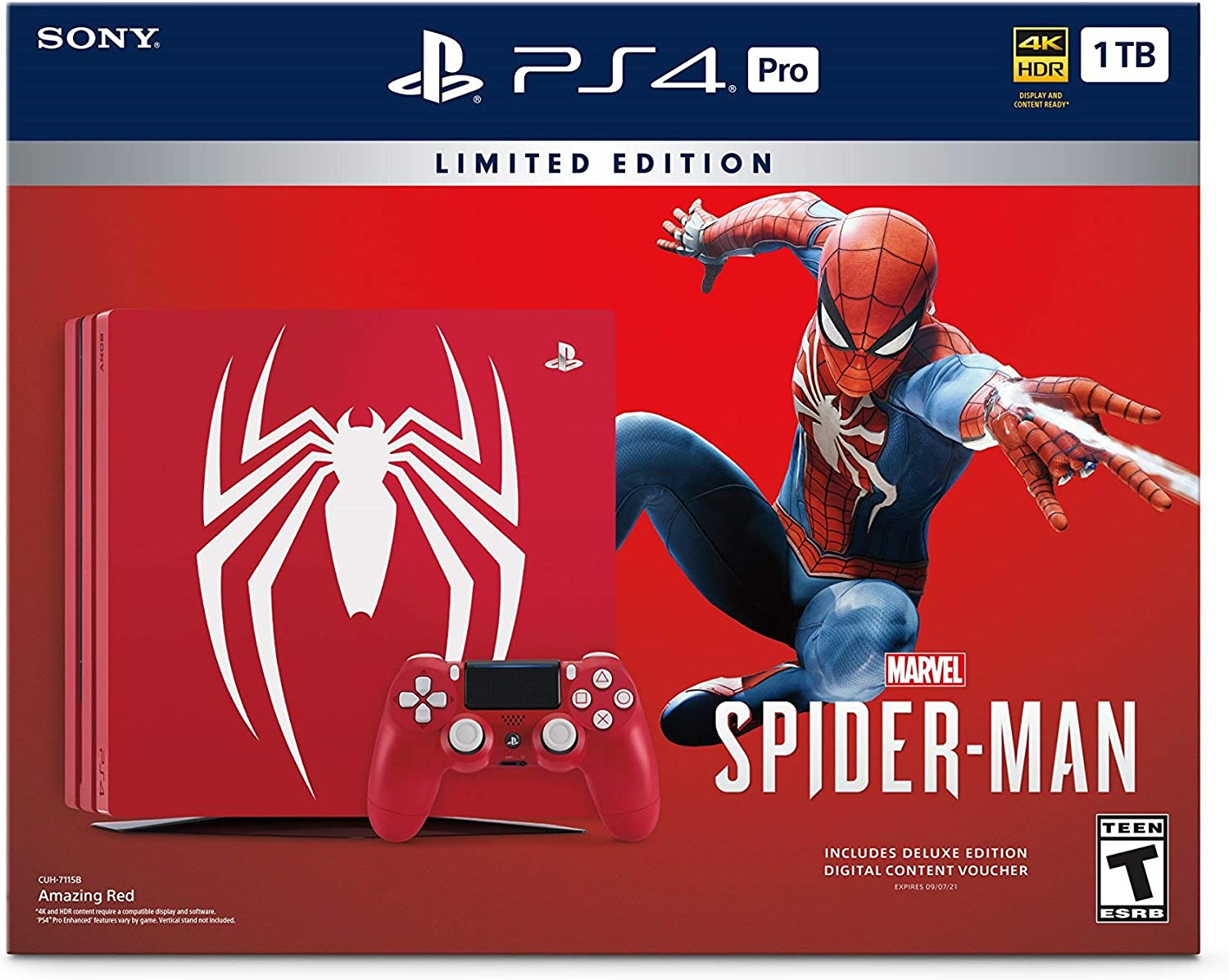 PlayStation 4 Pro 1TB Limited Edition Console – Marvels Spider-Man Bundle Discontinued Renewed