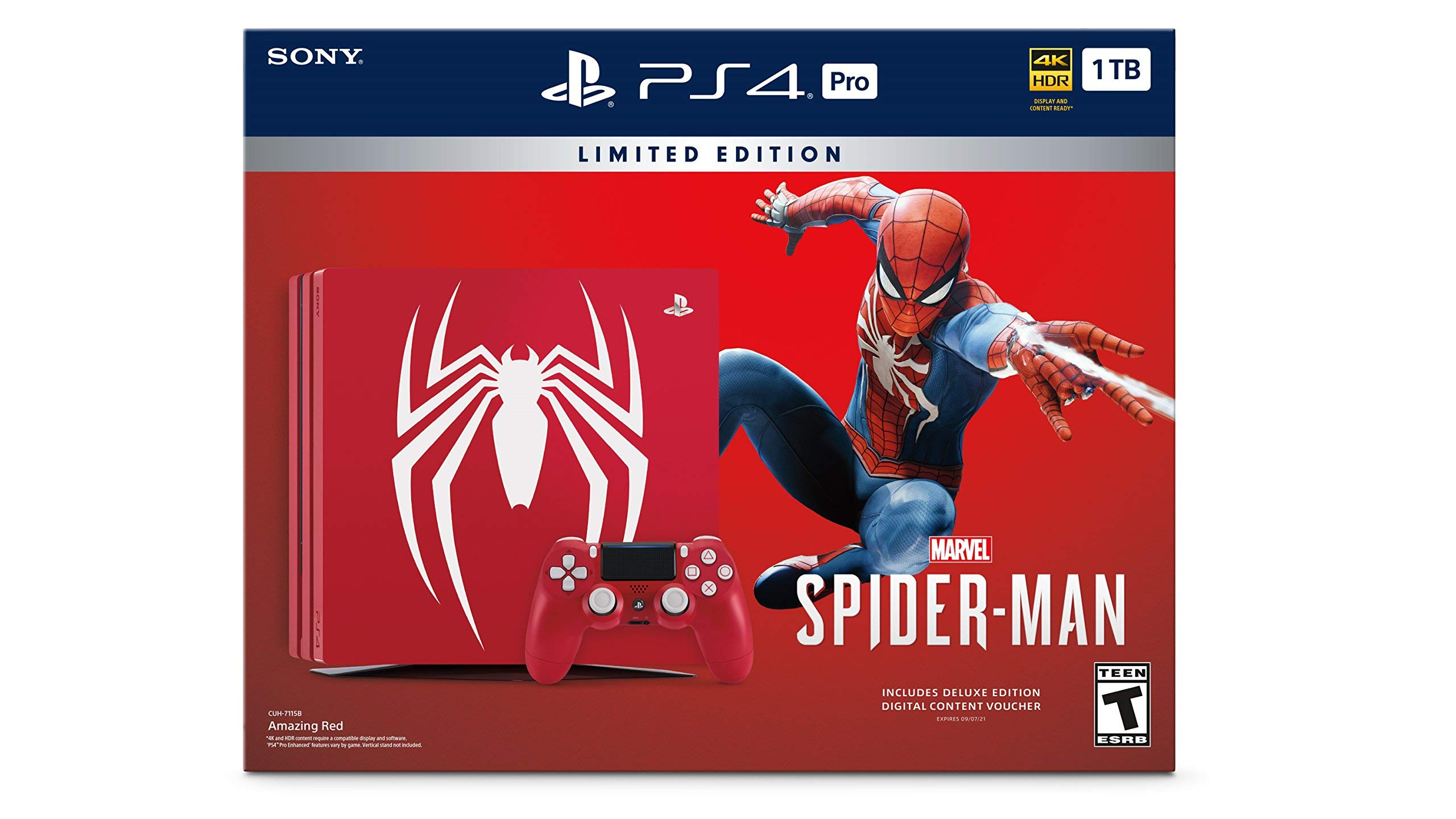 PlayStation 4 Pro 1TB Limited Edition Console - Marvels Spider-Man Bundle [Discontinued] (Renewed)