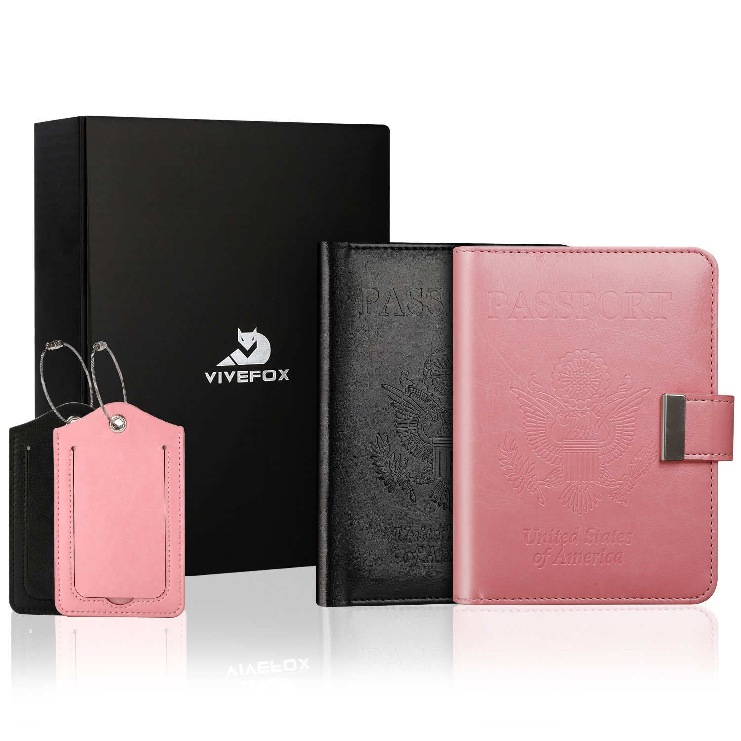 Rfid Couple Passport Holders Covers, Vivefox Family Travel Wallet with 2 Luggage Tags Gift Choice(Black&Rose Pink)