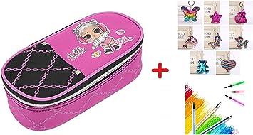 Estuche Escolar LOL Surprise Bolso Ovalado con Cremallera + Llavero con Brillos + bolígrafo con Purpurina + marcapáginas: Amazon.es: Equipaje
