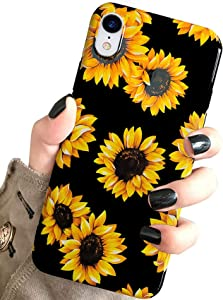 iPhone XR Case Vintage Flower Floral,J.west Cute Yellow Sunflowers Black Soft Cover for Girls/Women TPU Silicone Flexible Slim fit Fashion Design Pattern Protective Case for iPhone XR 6.1 inch