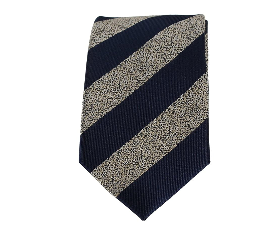 Boys Necktie Navy Blue with Cream Textured Stripe Fashion Tie