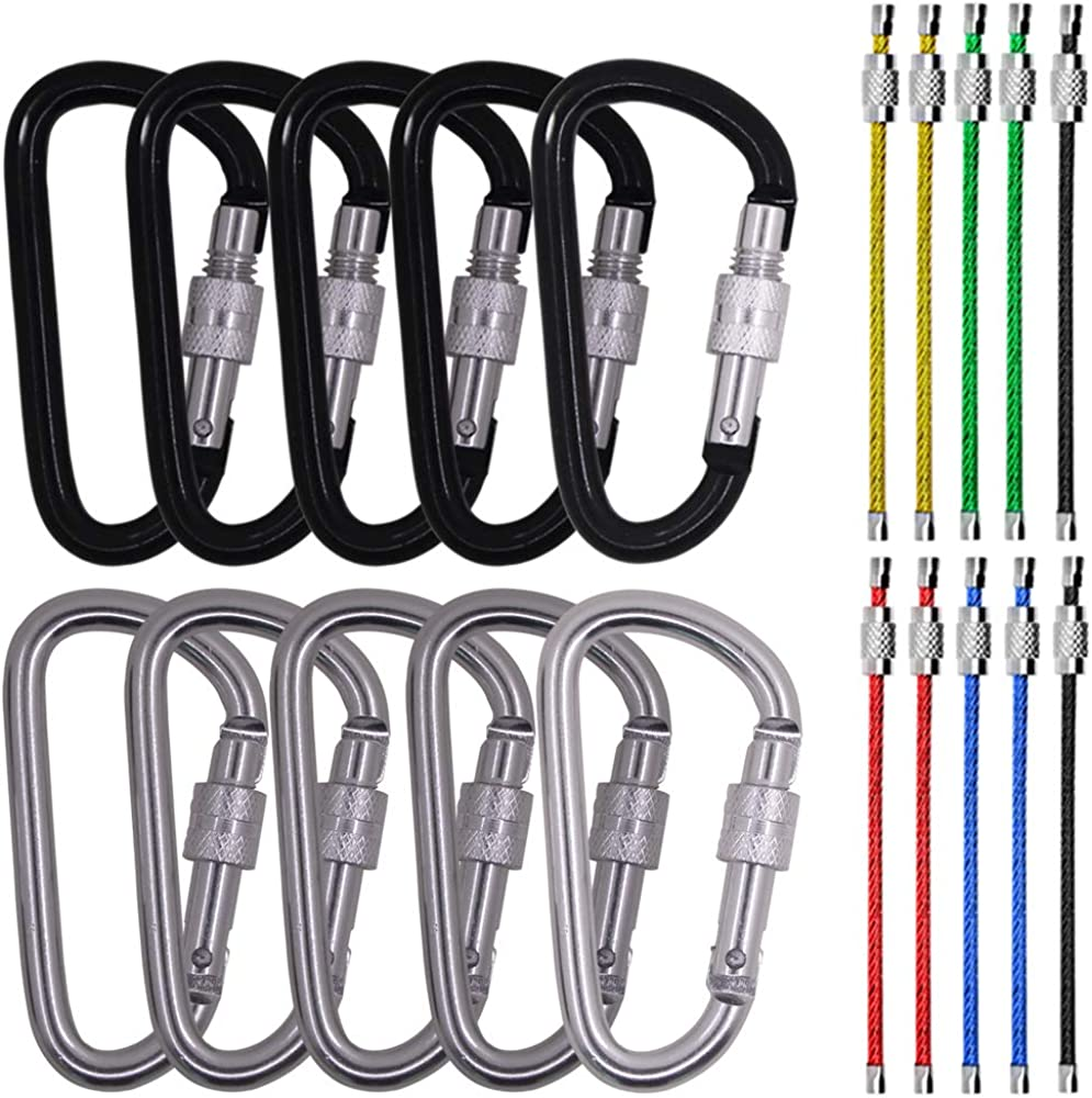 10 Pack D Shape Spring-loaded Strong and Lightweight Large Carabiners Clip Set, SourceTon Outdoor Camping Screw Gate Lock Hooks Stainless Steel Wire Ring Cable Loop