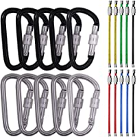 "SourceTon 3"" 10 Pack D Shape Spring-Loaded Strong and Lightweight Large Carabiners Clip Set, Outdoor Camping Screw Gate Lock Hooks Bonus 10 PCS 4.3"" Stainless Steel Wire Ring Cable Loops"