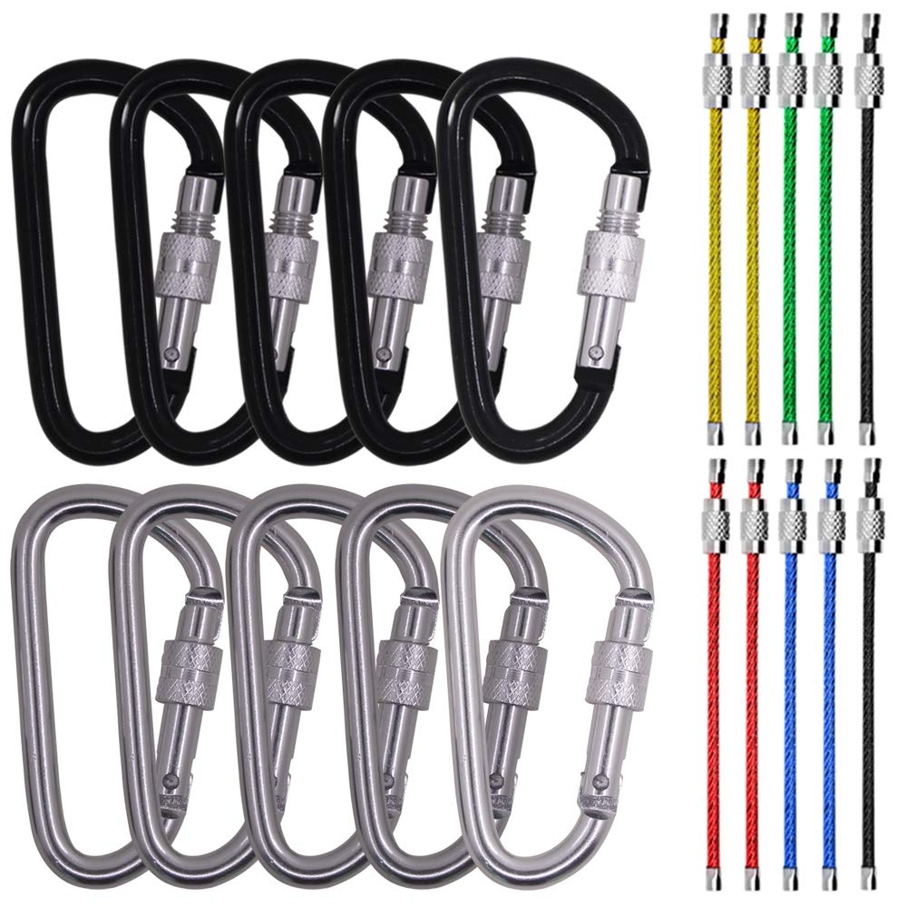 Outdoor Camping Screw Gate Lock Hooks BONUS 10 PCS 4.3 Stainless Steel Wire Ring Cable Loops SourceTon 3 10 Pack D Shape Spring-loaded Strong and Lightweight Large Carabiners Clip Set
