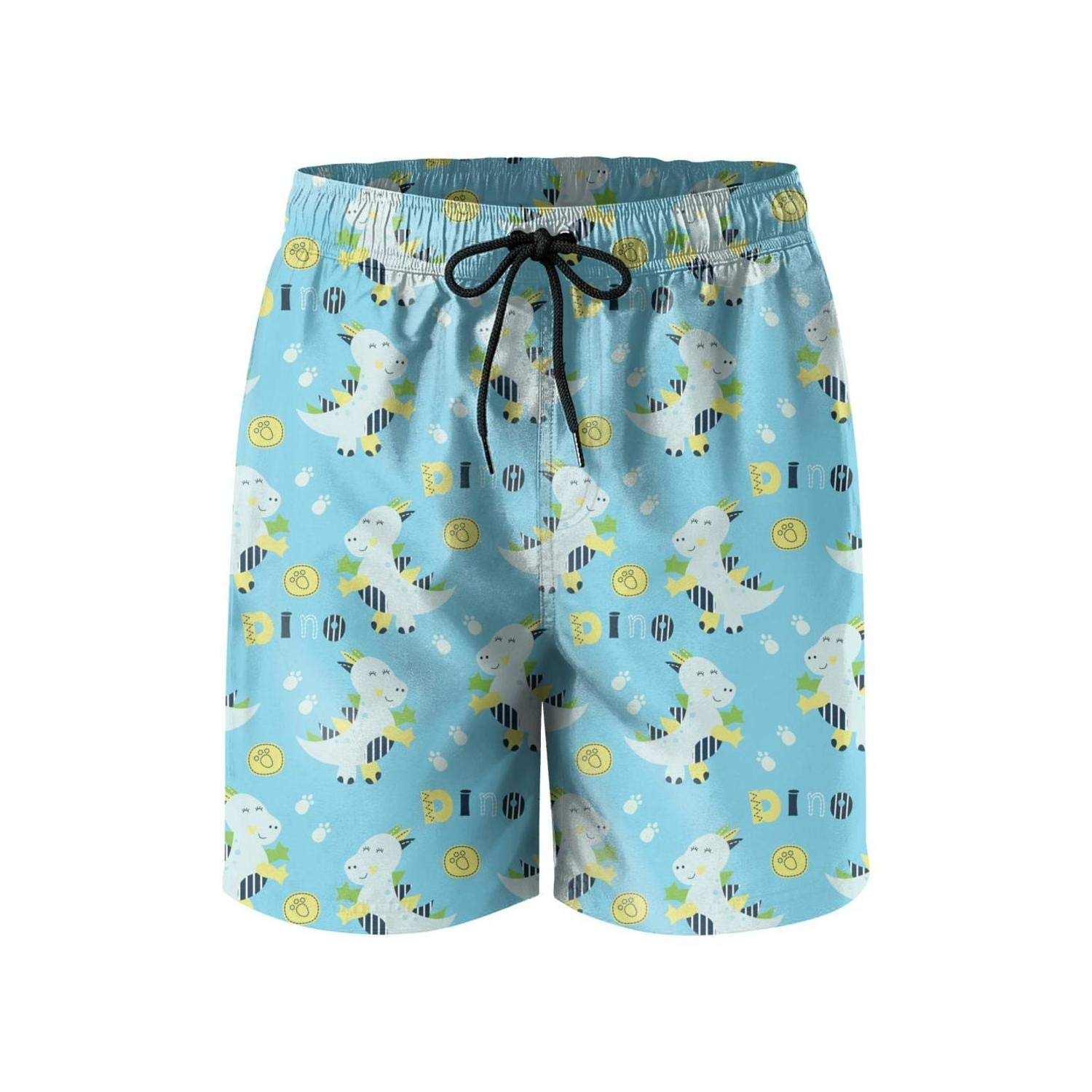 KHJGHYG Mans Cute Little Dinosaur Baby Loose Polyester Quick Dry Surfing Beach Shorts
