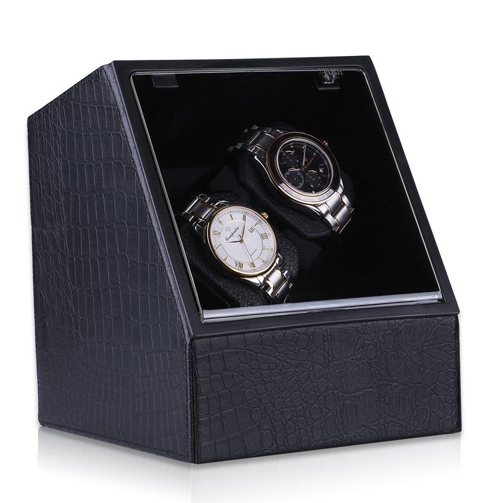 CRITIRON 2 Automatic Watch Winder PU Leather 4 Rotation Modes Storage Display Case Black