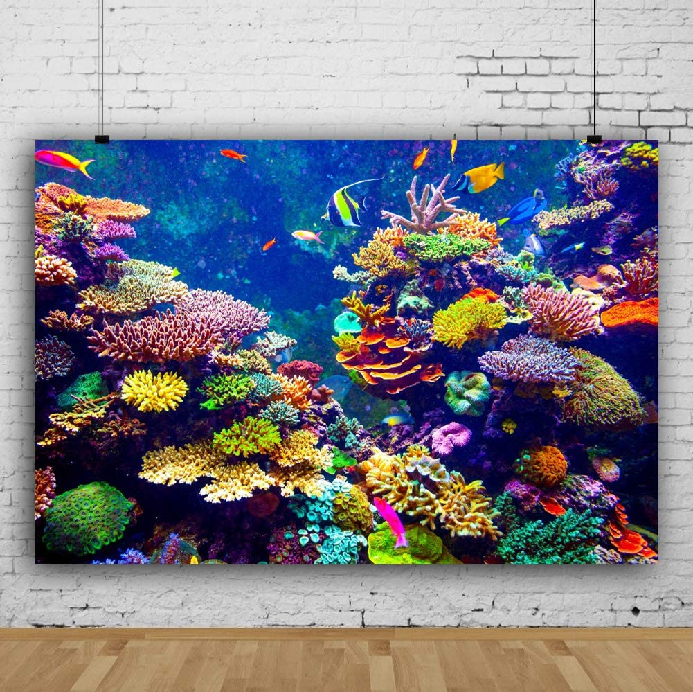 YongFoto 2,2x1,5m Vinyle Toile de Fond Beaux coraux color/és des Poissons Monde sous Marin Aquarium Fond de Studio Photo f/ête Anniversaire photobooth Photographie Fond Accessoires