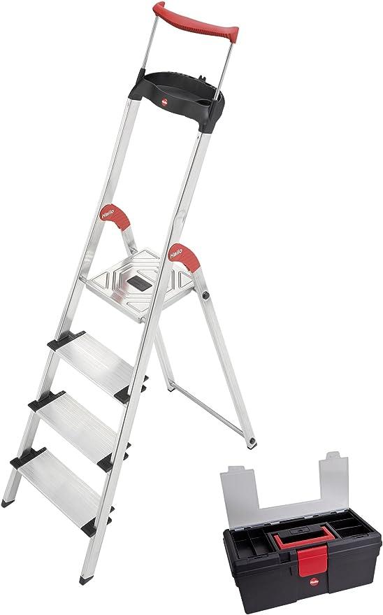 Hailo 8854 – 001 – Escalera de Seguridad XXR 4 peldaños, Aluminio Caja de Herramientas: Amazon.es: Hogar