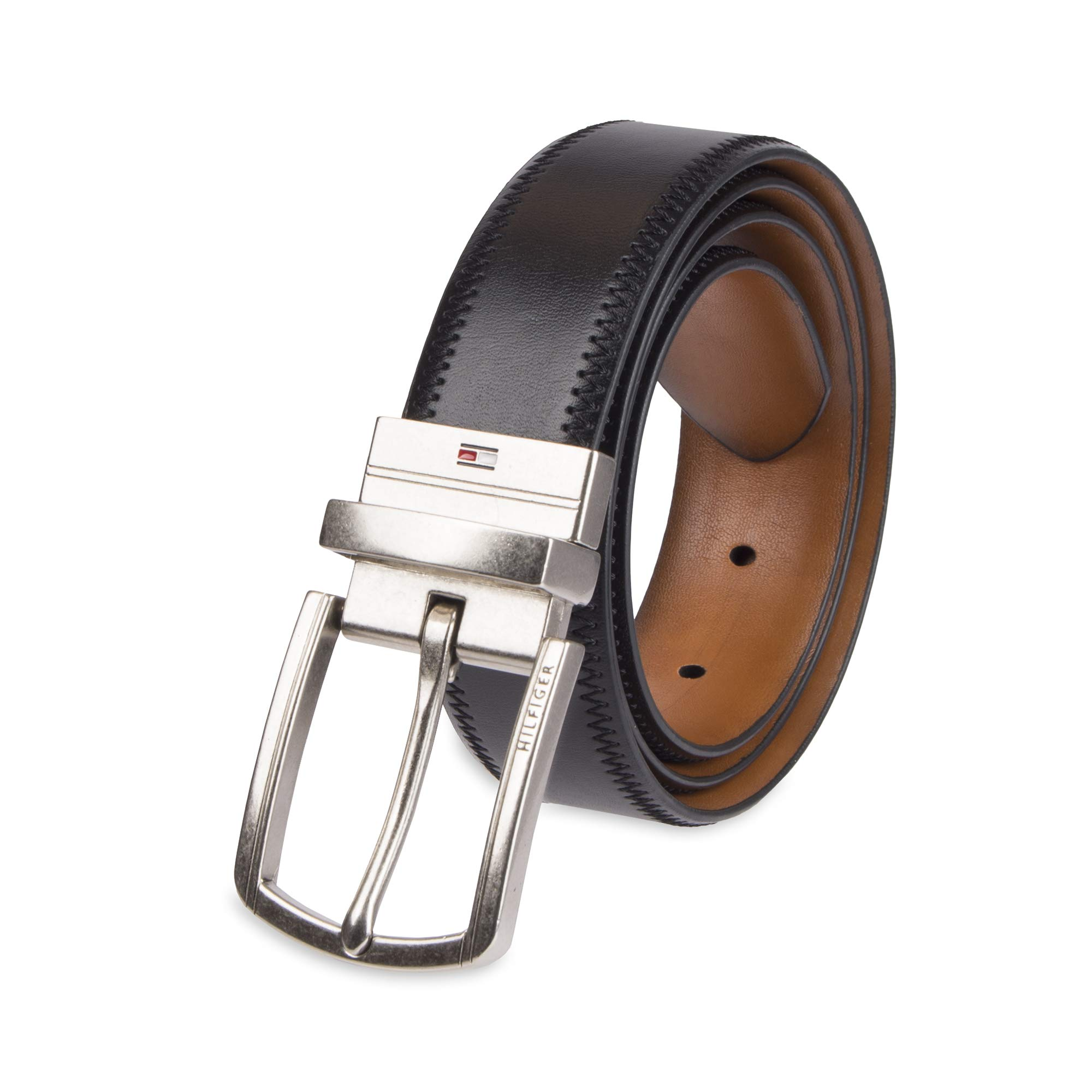 Tommy Hilfiger Reversible Leather Belt - Casual for Mens Jeans with Double Sided Strap and Silver Buckle, Black/Tan, 30