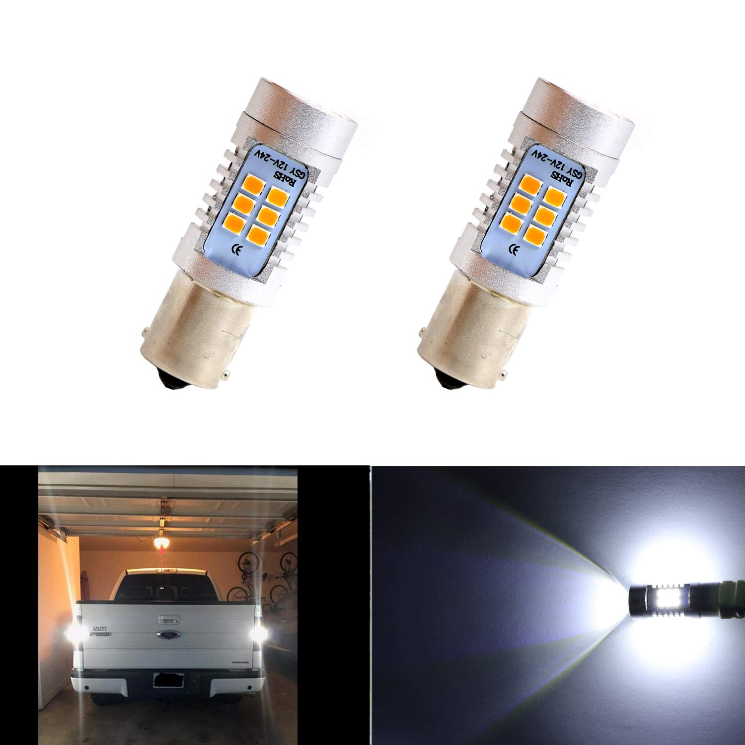 1156 Reversing Light LED Bulbs 12V P21W BA15S 33pcs 5630SMD LED Light Bulb for Backup Lights, Brake Lights, Signal Light, Headlight, Daytime Running Lights (Pack of 2) Yepwell