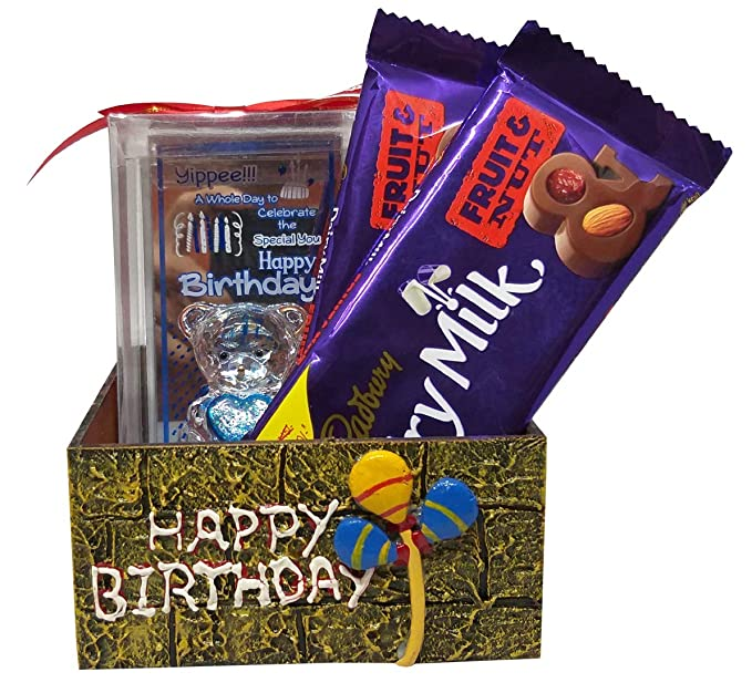 Saugat Traders Birthday Gift Combo Birthday Glass Showpiece Of Cute Teddy Handmade Box With 2 Chocolates Gift For Girlfriend Sister Daughter Friend Fiance Amazon In Grocery Gourmet Foods