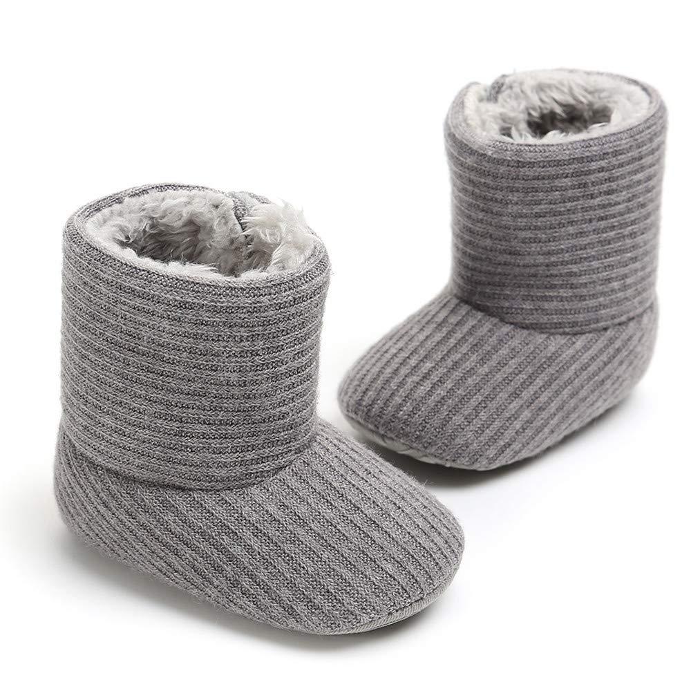 wwffoo Infant Baby Girls Boys Plush Non-Slip Prewalker Warm Snow Boots 0-18 Months