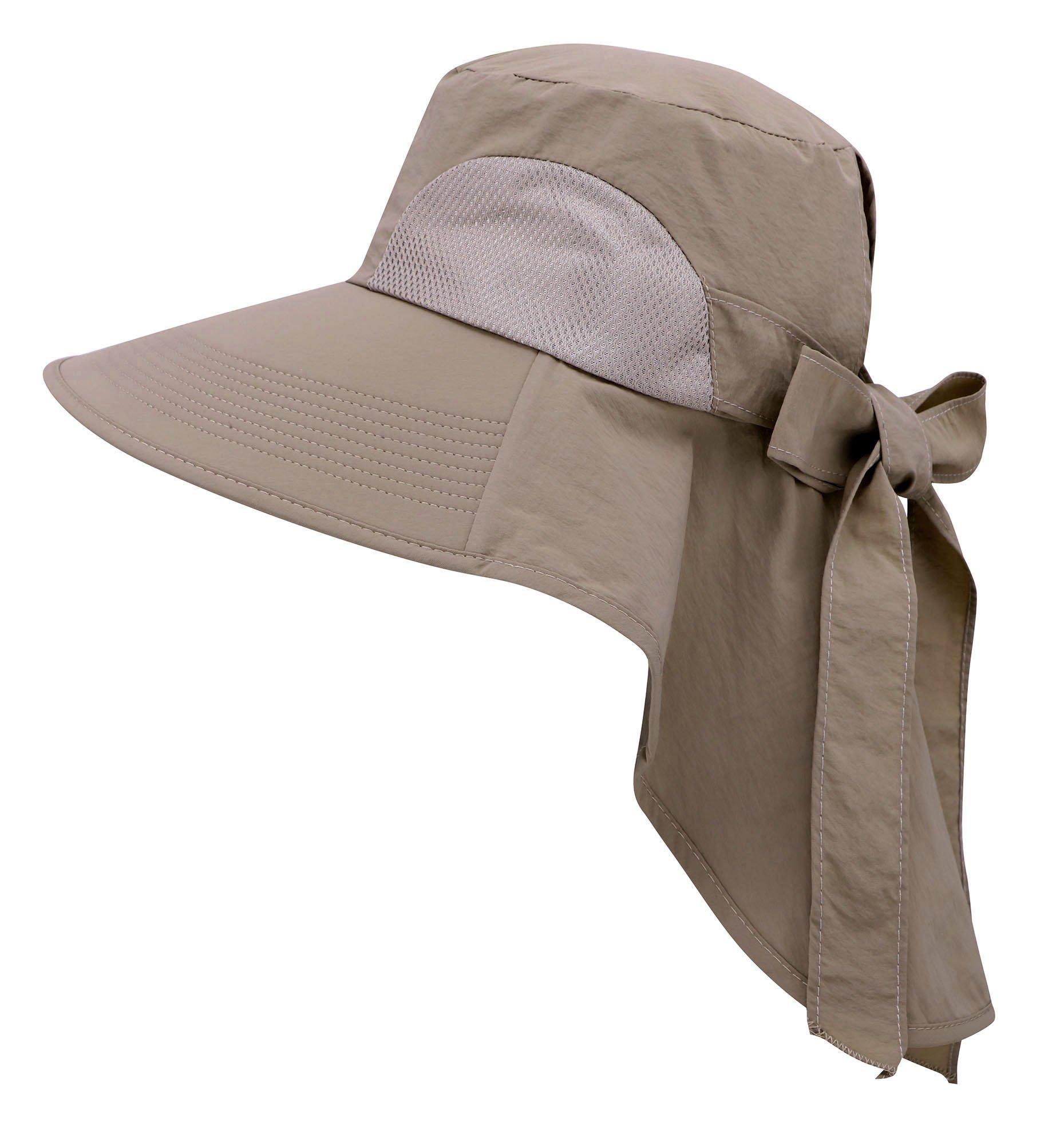 Jasmine Sun Hat Womens Foldable Flap Cover UPF 50 UV Protective Bucket Hat,Khaki