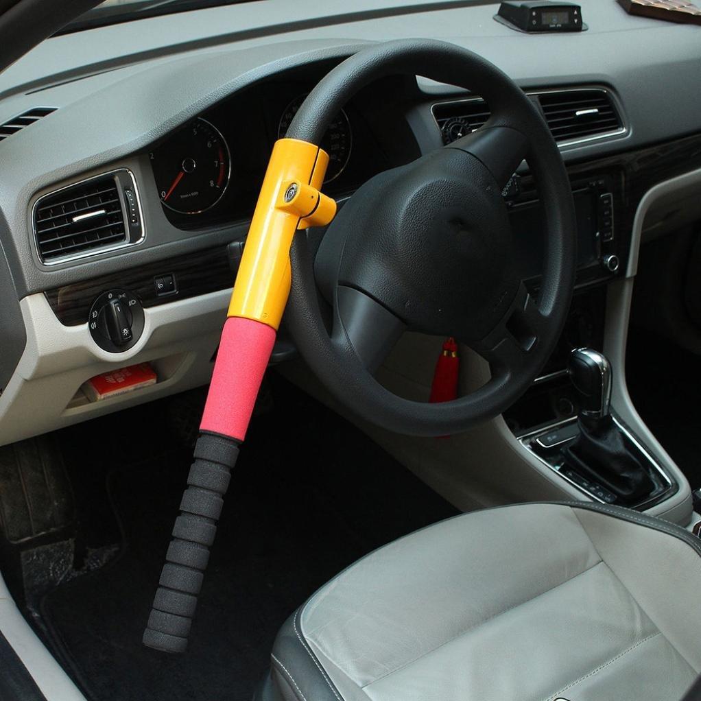 Steering Wheel Lock, Transer Universal Heavy Duty Anti Theft Car Van Truck Security Crook Steering Wheel Lock (Yellow)