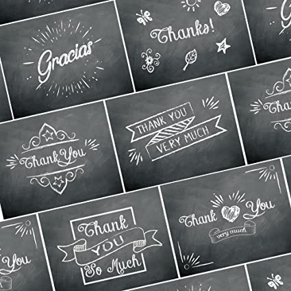 amazon com thank you cards 36 chalkboard thank you notes for