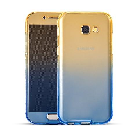 TPU Full Body (Frontal y Trasero) Carcasa Galaxy A5 2017 Funda Sunroyal 360° Doble Transparente Sleeve Ultra Thin Suave Gel de Silicona Samsung A5 ...