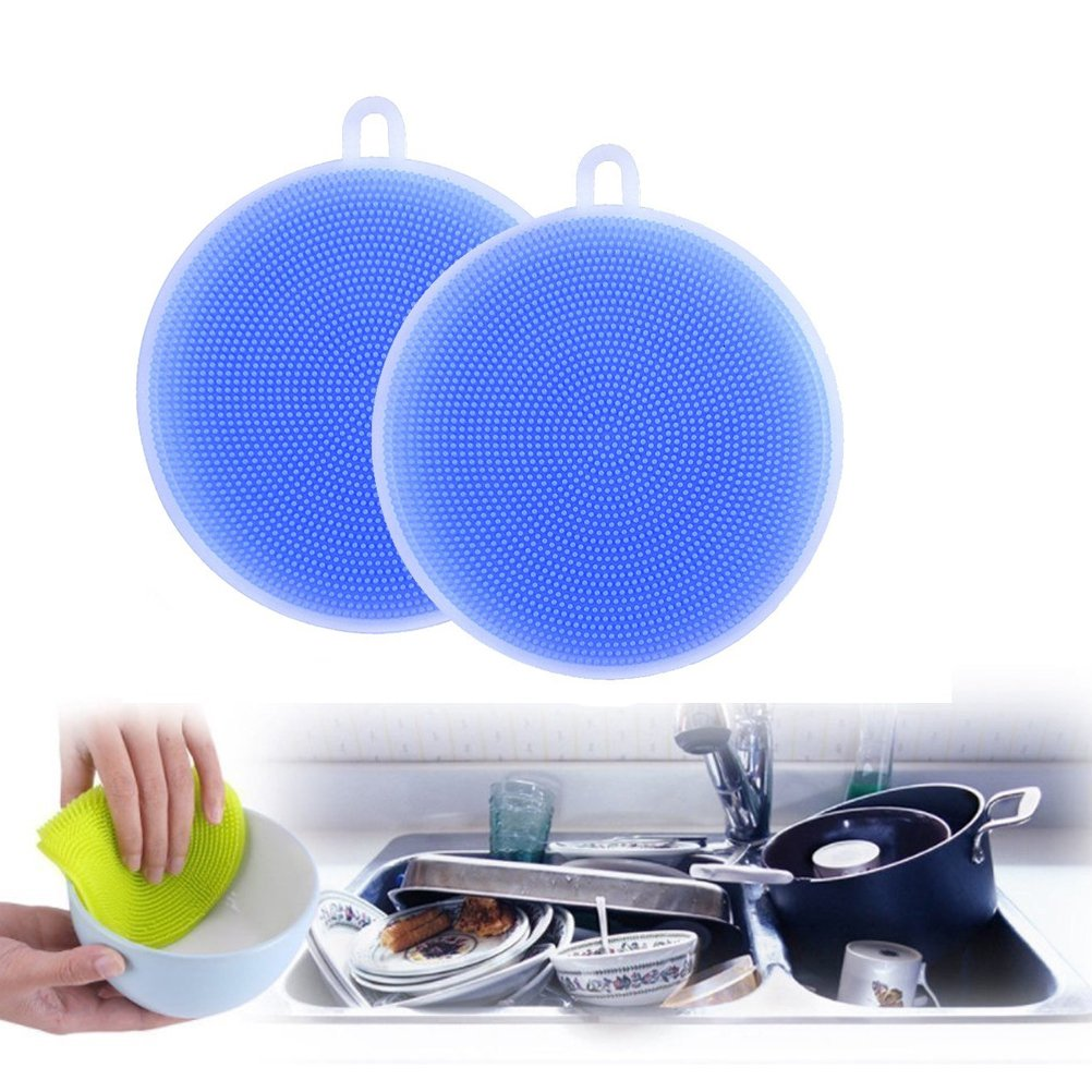 Silicone spugna Scrubber, vanyda bagno cucina strumento guscio Lavare bilancio microfibra panni di pulizia Kit #3