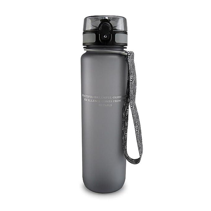 SMARDY Tritan Botella de Agua para Beber Gris - 1000ml - de plástico sin BPA - Tapa de un Clic - fácil de Abrir - ecológica - Reutilizable: Amazon.es: ...