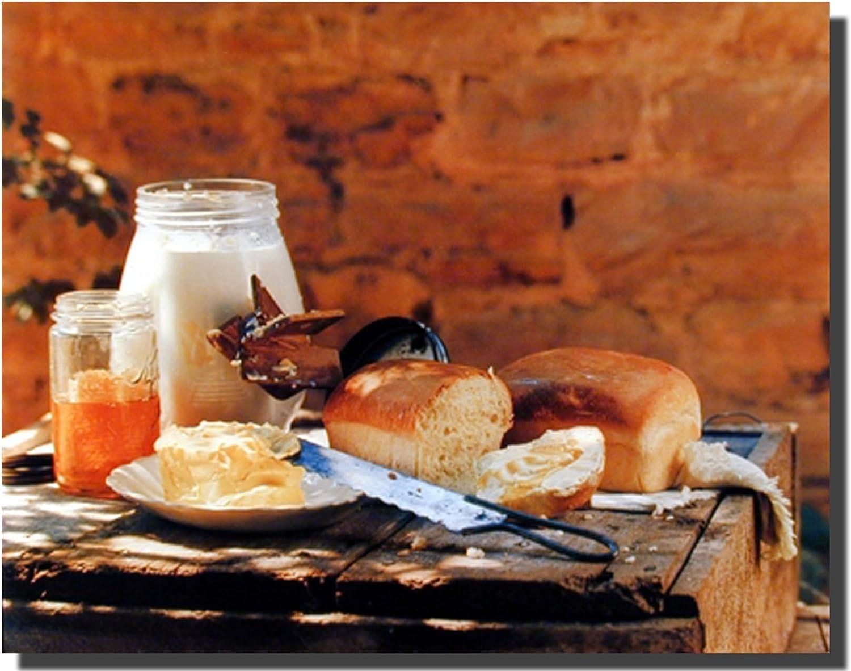 Country Homemade Bread Butter Gore Food Still Life Wall Decor Art Print Poster (16x20)