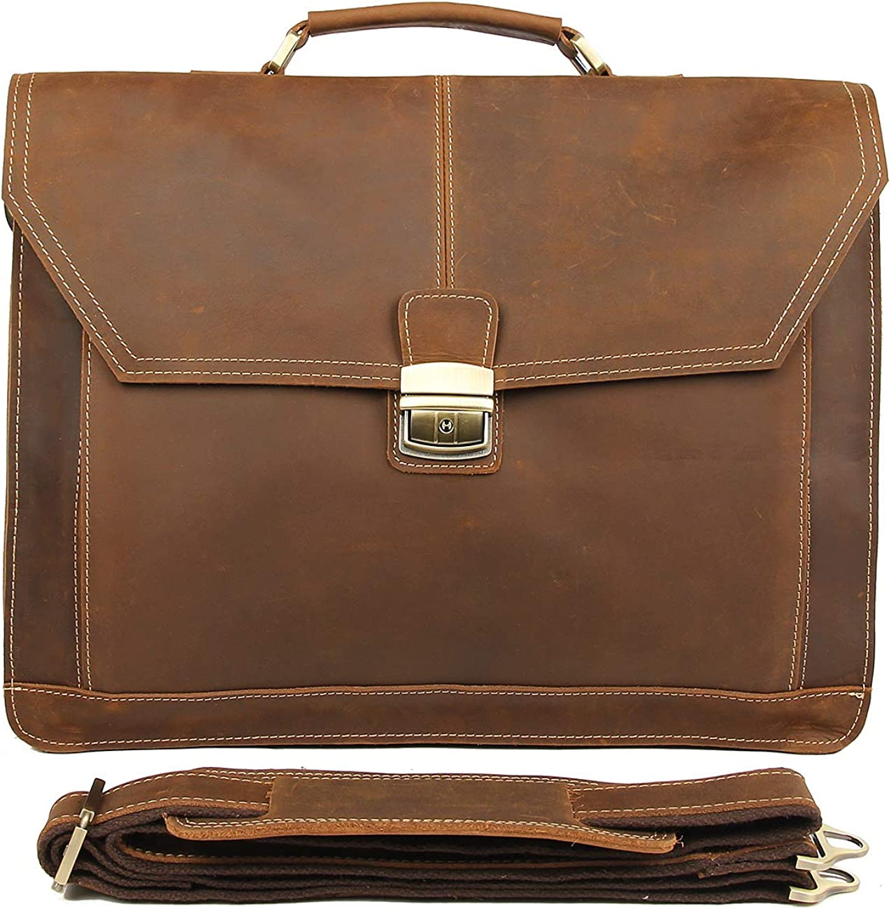 Polare Leather Men s Briefcase laptop messenger Bag satchel Fit 16.5 Inch Laptop Tote