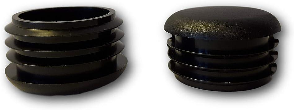20 Deslizador/tapón, plástico, negro, con láminas, cabeza redondeada, para tubos redondos: Amazon.es: Bricolaje y herramientas