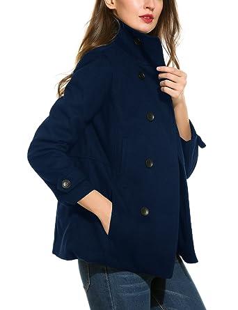 136b4339cbb Finejo Women s Wool Peacoat Double Breasted Overcoat Long Sleeve Wool  Jacket Dark Blue