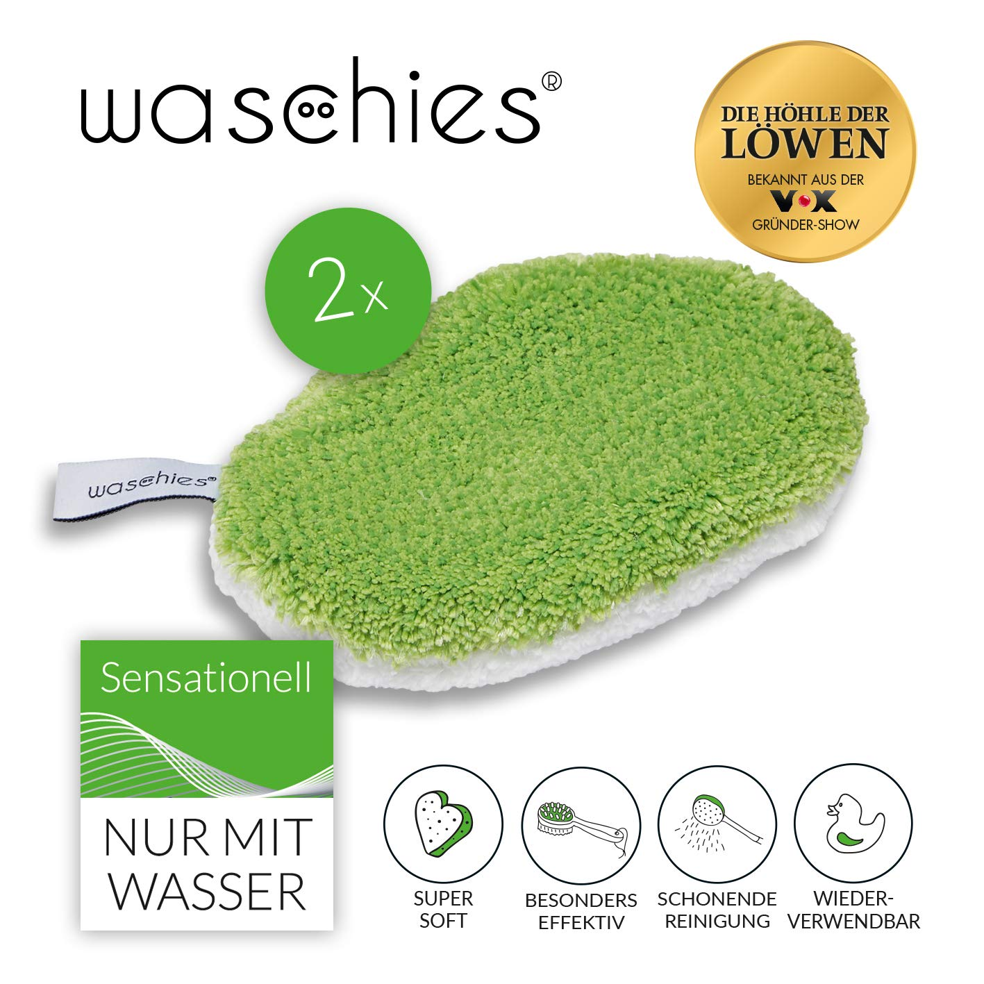 waschies 08371 Toallitas de cuidado para beb/és reutilizables talla M color verde