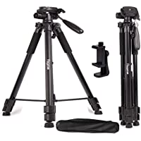 "Regetek Travel Camera Tripod (Aluminum 63"" Adjustable Camera Stand with Flexible Head) -Portable Tripod for Canon Nikon…"