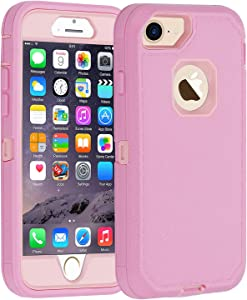 Co-Goldguard Case for iPhone 6/6s,[Heavy Duty] [Litchi Pattern Series] 3 in 1 Durable Cover with with Screen Bumper Shockproof Drop-Proof Shell Case for Apple iPhone 6/6s 4.7 inch (Pink)
