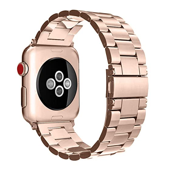 Stainless Steel Band Strap Smartwatch Classic Metal Wristband Bracelet Compatible with 40mm Apple Watch Series 4, 38mm Apple Watch Series 3/2/1 (Rose ...
