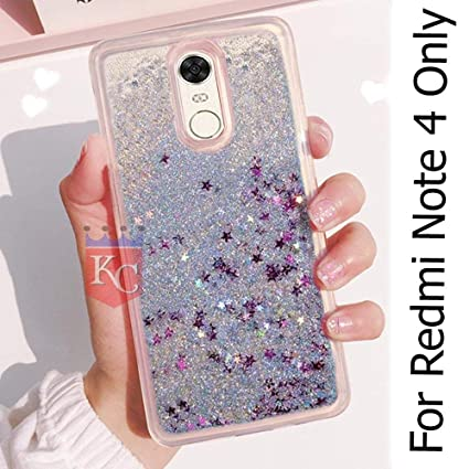 wholesale dealer 74a9f 7b37c KC Liquid Flowing 3D Bling Glitter Star Transparent Soft Back Cover for  Xiaomi Mi Redmi Note 4 (Silver)