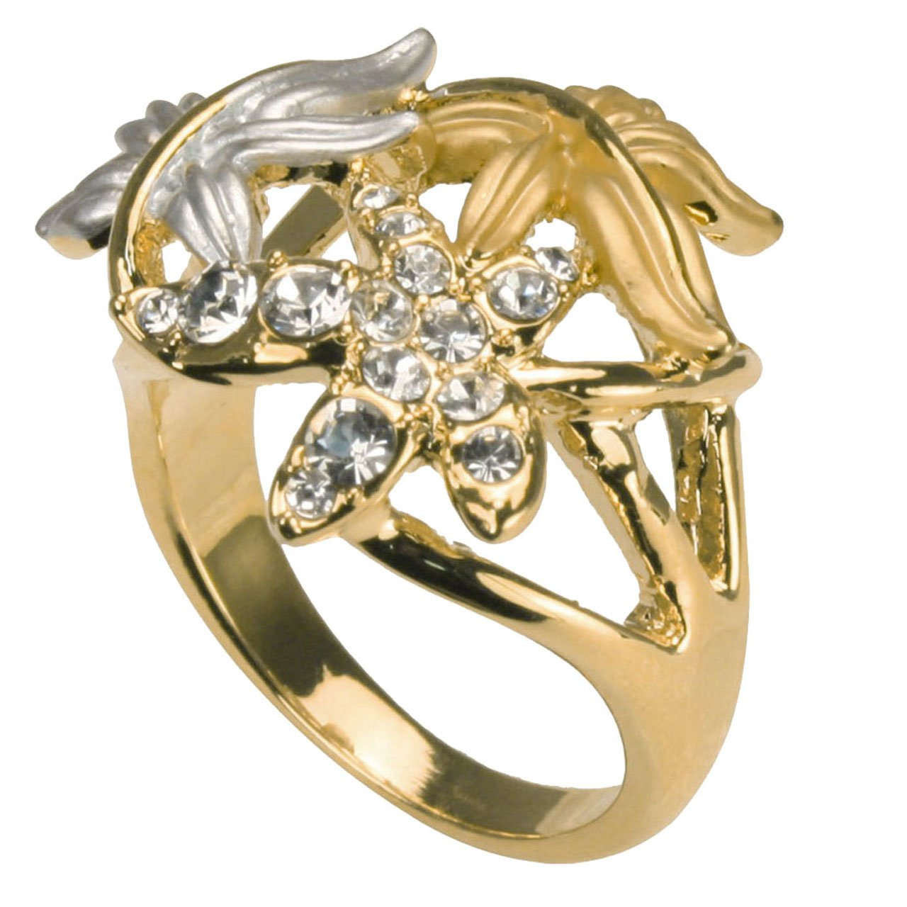 Triple Maple Leaves Two-Tone Rhinestone Fashion Ring Size 9