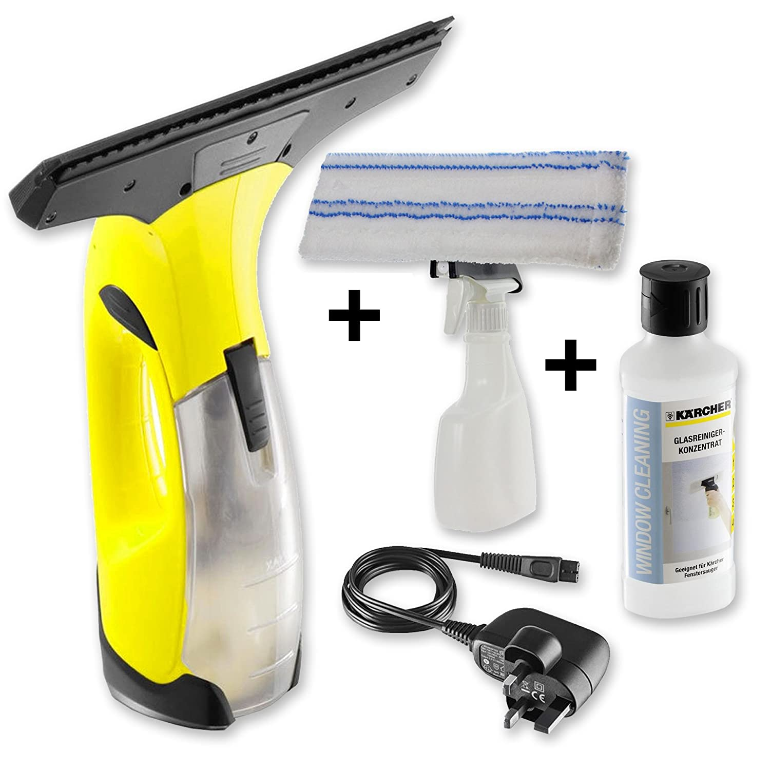 Kä rcher WV2 Window Vacuum Cleaner + Karcher Cleaning Fluid + SPARES2GO Spray Bottle Scrub Pad Kit Karher