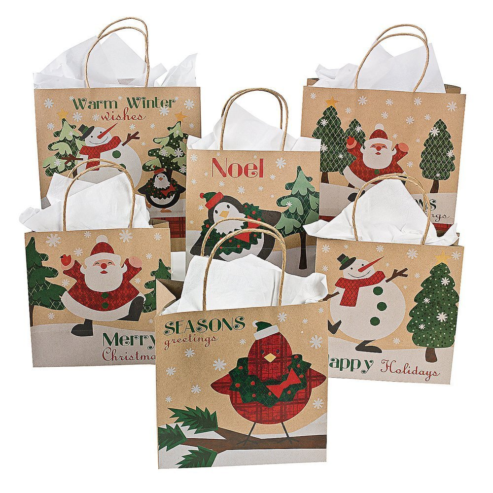 Medium paper snowman gift bags health for Craft paper gift bags