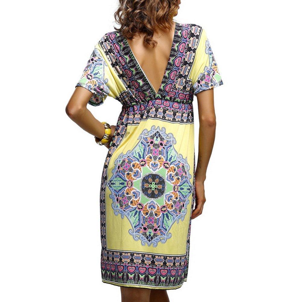 D9Q Sexy Sommer Frauen Dame böhmisches Kleid mit Paisley Muster V  Ausschnitt Sommerkleid Strandkleid Rock: Amazon.de: Bekleidung
