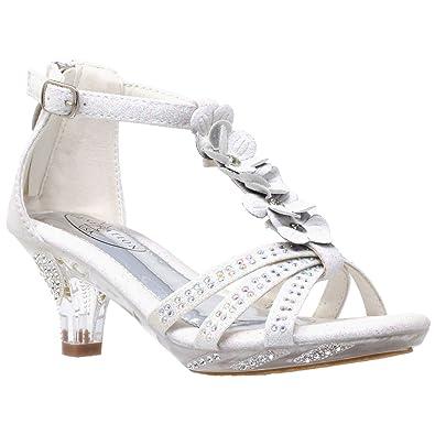 Amazon generation y kids heel sandals low heels dress t strap generation y kids heel sandals t strap flower glitter rhinestone clear low heels white sz mightylinksfo