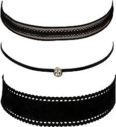 """SIX """"Trend 3er Set: Choker Ketten, Halsketten, Halsbänder aus Textil, Samt, Spitze in schwarz (741-502)"""