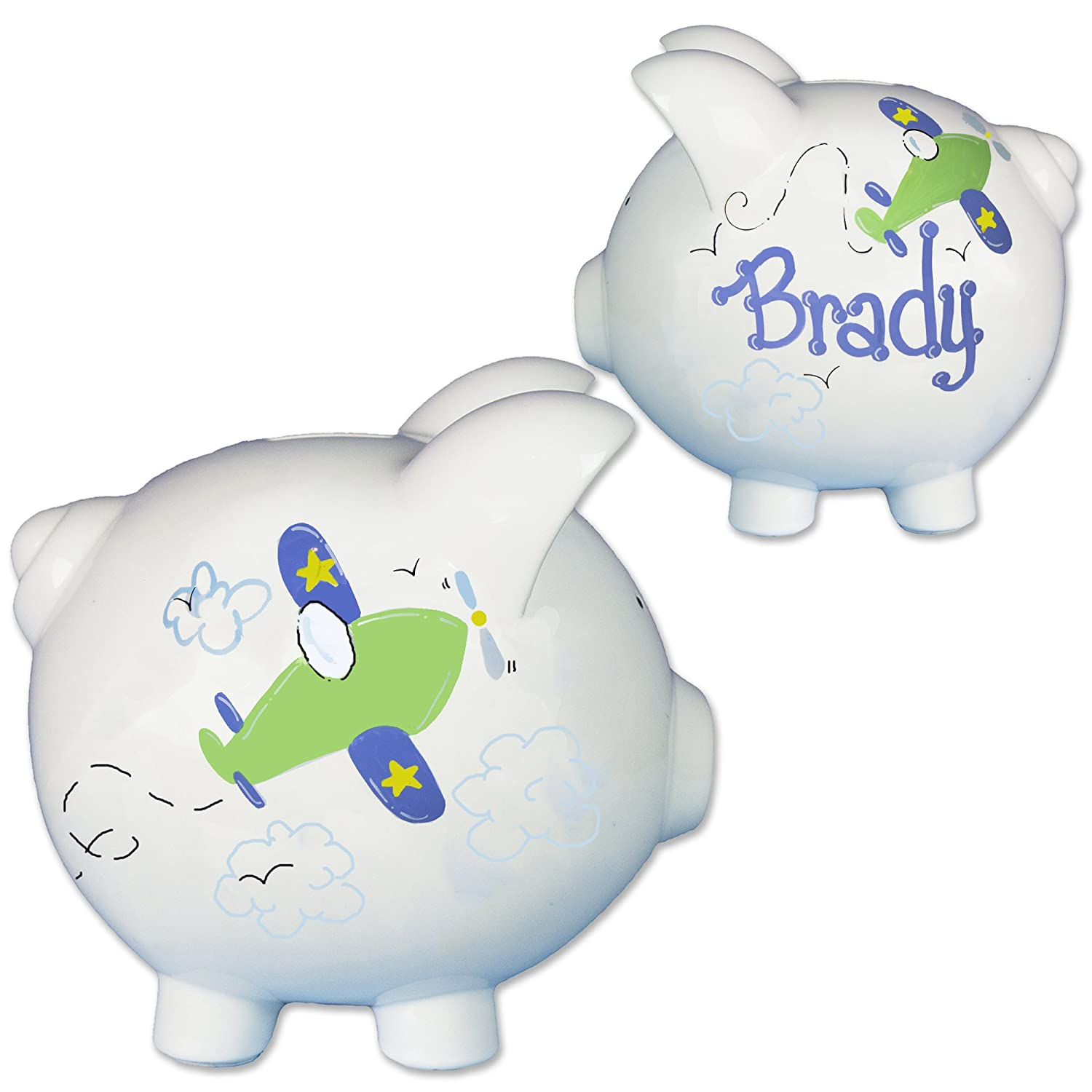 458890e6d9506 Amazon.com   Boy s Aiplane Piggy Bank Hand Painted Personalized Air Plane  Piggybank Travel Baby Gift   Baby