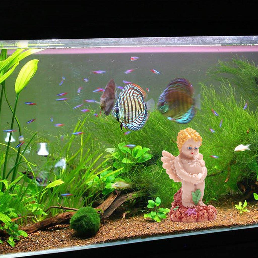 Logres - Bomba de oxígeno para acuario con forma de ángel con burbujas de aire, resina, decoración de peces, peceras: Amazon.es: Productos para mascotas