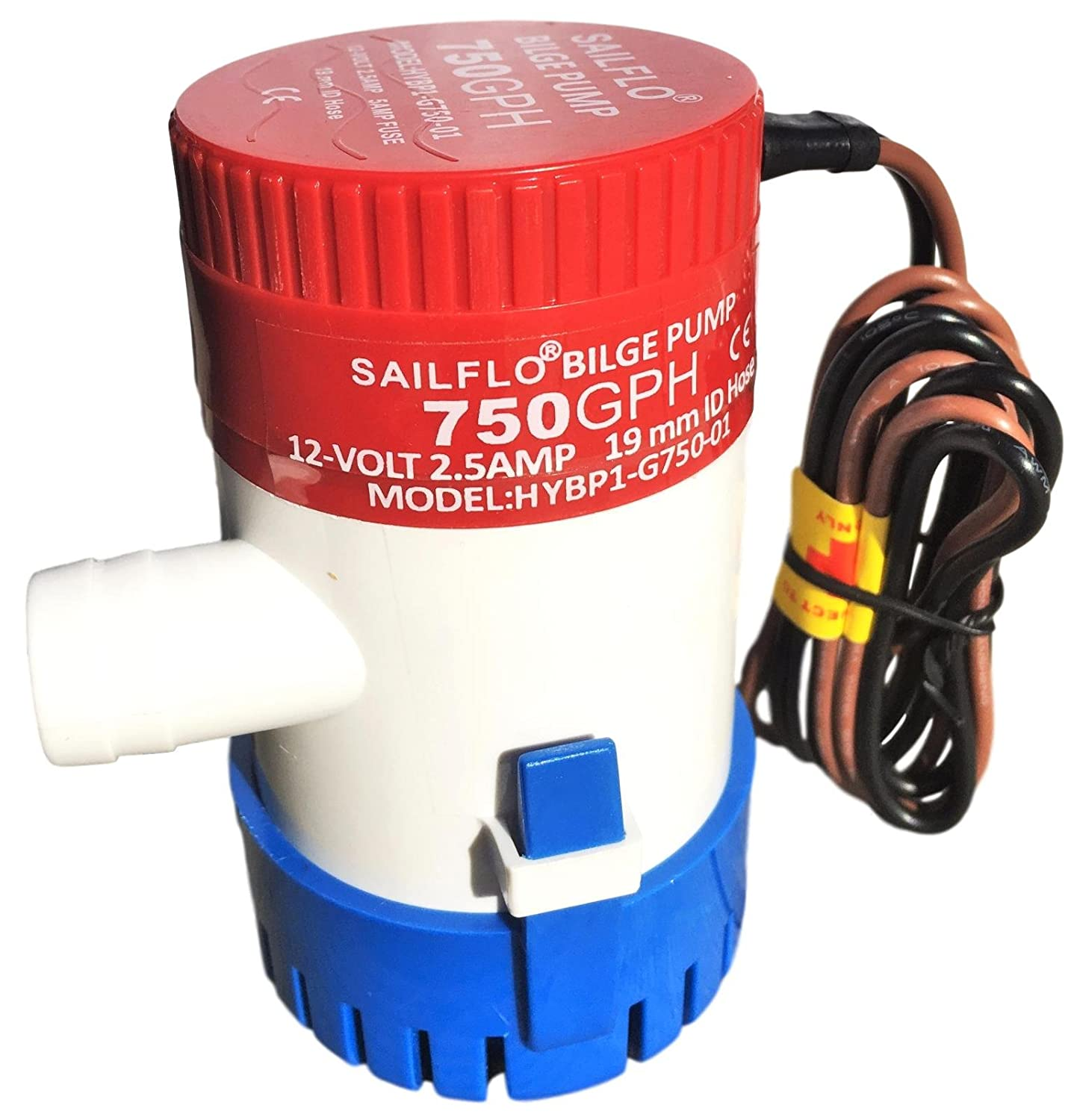 Amazon.com : SAILFLO Boat Bilge Water Pump Marine 750 GPH 12V 3/4 inch hose  outlet : Sports & Outdoors