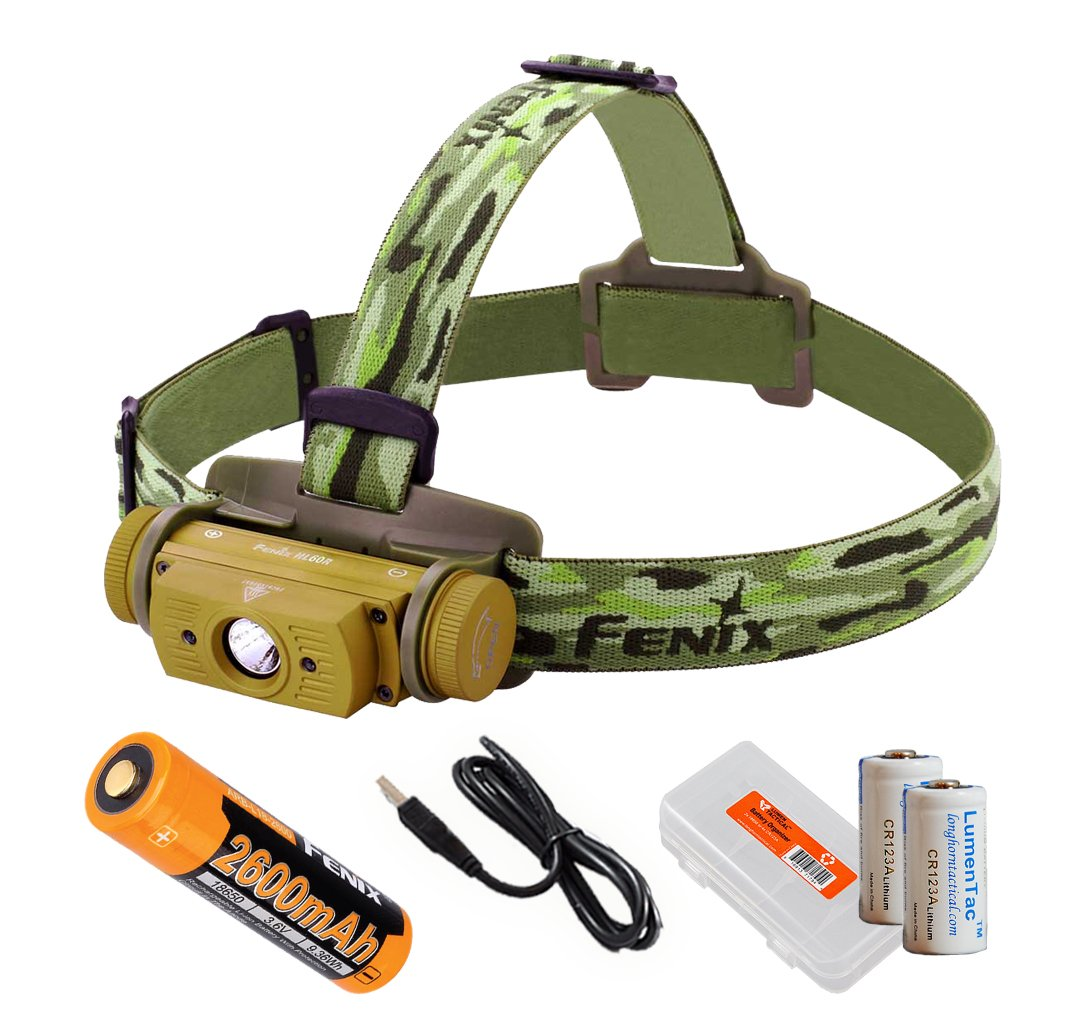 Fenix HL60R 950 Lumens Rechargeable LED Headlamp with Rechargeable Battery, USB Charging cable and LumenTac Organizer and Backup CR123As (Desert Yellow)